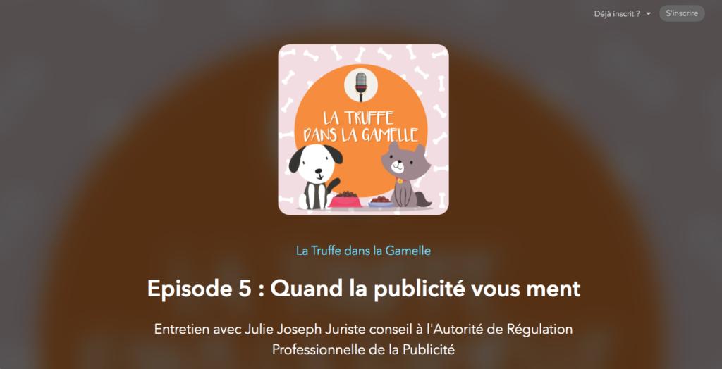"""Alimentation des animaux : podcast Le Truffe dans la Gamelle """"Quand la publicité vous ment"""""""